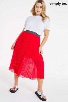 Simply Be Plisse Midi Skirt