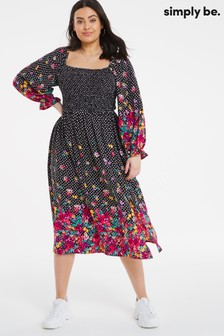 Simply Be Floral Shirred Midi Dress