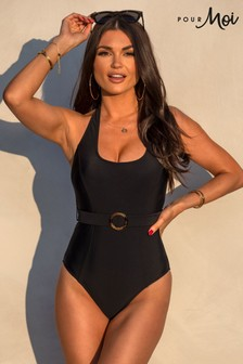 Pour Moi Belted Halter Control Swimsuit