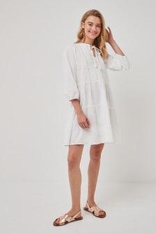 Vero Moda Tiered Embroidered Smock Dress