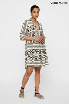 Vero Moda Aztec Print V Neck Smock Dress
