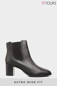 Yours Leather Heeled Chelsea Boots In Extra Wide Fit