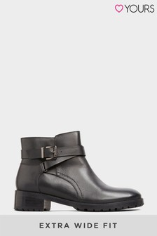Yours Leather Buckle Ankle Boots In Extra Wide Fit