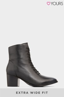 Yours Leather Lace Up Heeled Boots In Extra Wide Fit