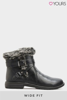Yours Vegan Faux Leather Buckle Ankle Boots In Wide Fit