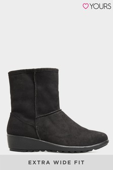 Yours Vegan Suede Wedge Heel Boots In Extra Wide Fit