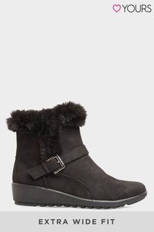 Yours Vegan Suede Wedge Heel Buckle Ankle Boots In Extra Wide Fit