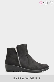 Yours Vegan Suede Wedge Heel Ankle Boots In Extra Wide Fit