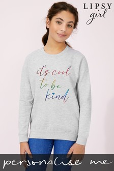 Personalised Lipsy It's Cool To Be Kind Kid's Sweatshirt by Instajunction