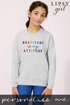Personalised Lipsy Gratitude Is My Attitude Kid's Sweatshirt by Instajunction