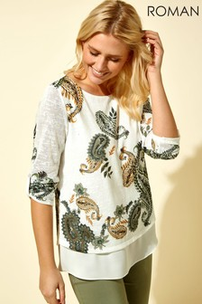 Roman Paisley Print Double Layer Top