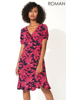 Roman Floral Print Frill Hem Tea Dress