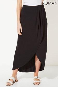 Roman Jersey Wrap Asymmetric Maxi Skirt