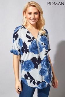 Roman Rose Print Zip Front T-Shirt