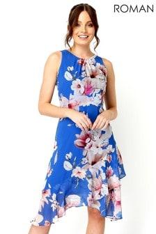 Roman Floral Chiffon Hanky Hem Ruffle Midi Dress