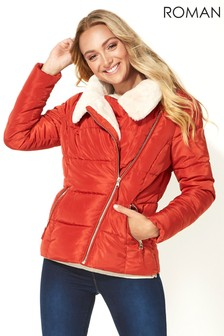 Roman Faux Fur Collar Padded Biker Coat