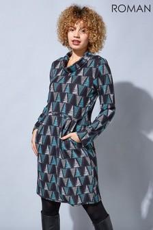 Roman Abstract Print Cowl Neck Dress