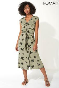 Roman Floral Print Utility Midi Dress