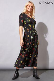 Roman Midi Floral Tea Dress