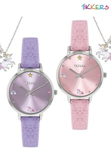 Tikkers Silicone Strap Unicorn Design Watch and Necklace Set