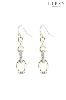 Lipsy Jewellery Polished and Crystal Link Earrings