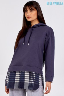 Blue Vanilla Check Hooded Fleece Jumper