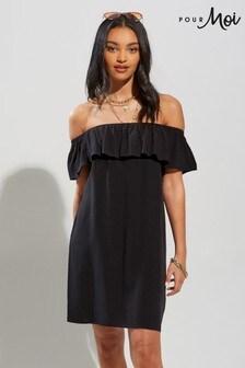 Pour Moi Textured Woven Bardot Beach Dress