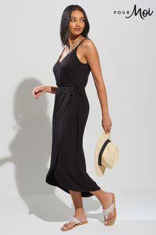 Pour Moi Stripe Jersey Midi Wrap Dress