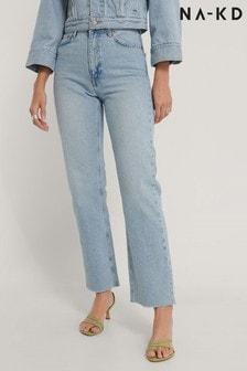NA-KD Straight High Waist Raw Hem Jeans