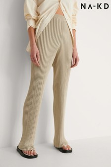NA-KD Ribbed Knitted Trousers
