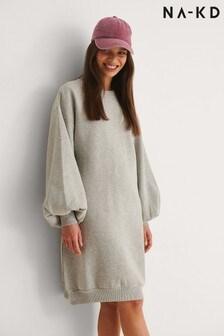 NA-KD Balloon Sleeve Sweater Dress