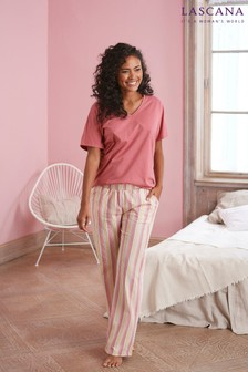 Lascana Plain Top Striped Bottom Pyjama Set
