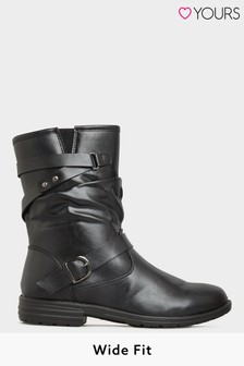 Yours Vegan Faux Leather Buckle Detail Boots In Wide Fit