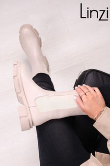 Linzi Faux Leather Long Chelsea Boot With Beige Sole
