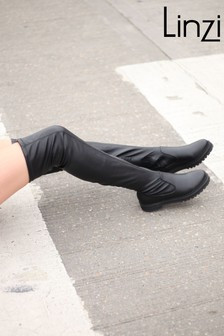 Linzi Faux Leather Flat Over The Knee Boot