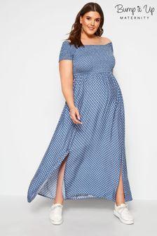 Bump It Up Maternity Polka Dot Bardot Maxi Dress