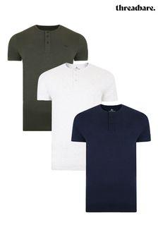 Threadbare 3 Pack Grandad Cotton T Shirts