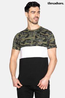 Threadbare Adyn Camo Colour Block T Shirt
