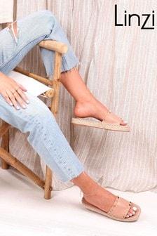Linzi Alaia Faux Leather Studded Platform Espadrille Inspired Slider
