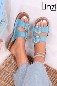 Linzi Arla Faux Suede Double Strap Sandal With Diamante Buckles