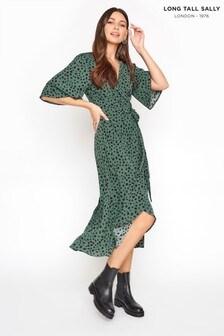 Long Tall Sally Dalmatian Wrap Midi Dress