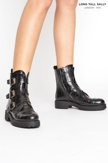 Long Tall Sally Leather Croc Buckle Strap Boots