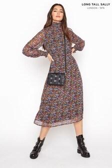 Long Tall Sally Multi Floral Chiffon Shirred Midi Dress