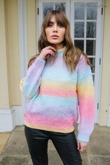 Little Mistress Rainbow Striped High Neck Knitted Jumper