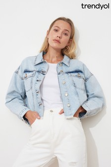 Trendyol Cropped Dark Blue Denim Jacket