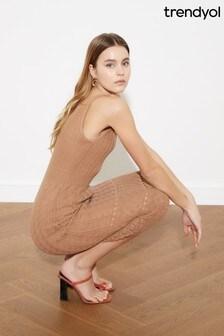 Trendyol Camel Light Knit Midi Dress