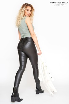 Long Tall Sally Ruched Leather Look Leggings