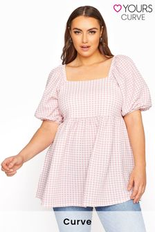 Yours Limited Gingham Square Neck Top