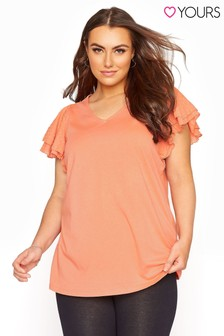 Yours Frill Sleeve T-Shirt
