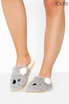 Yours Vegan Faux Fur Koala Mule Slippers In Regular Fit